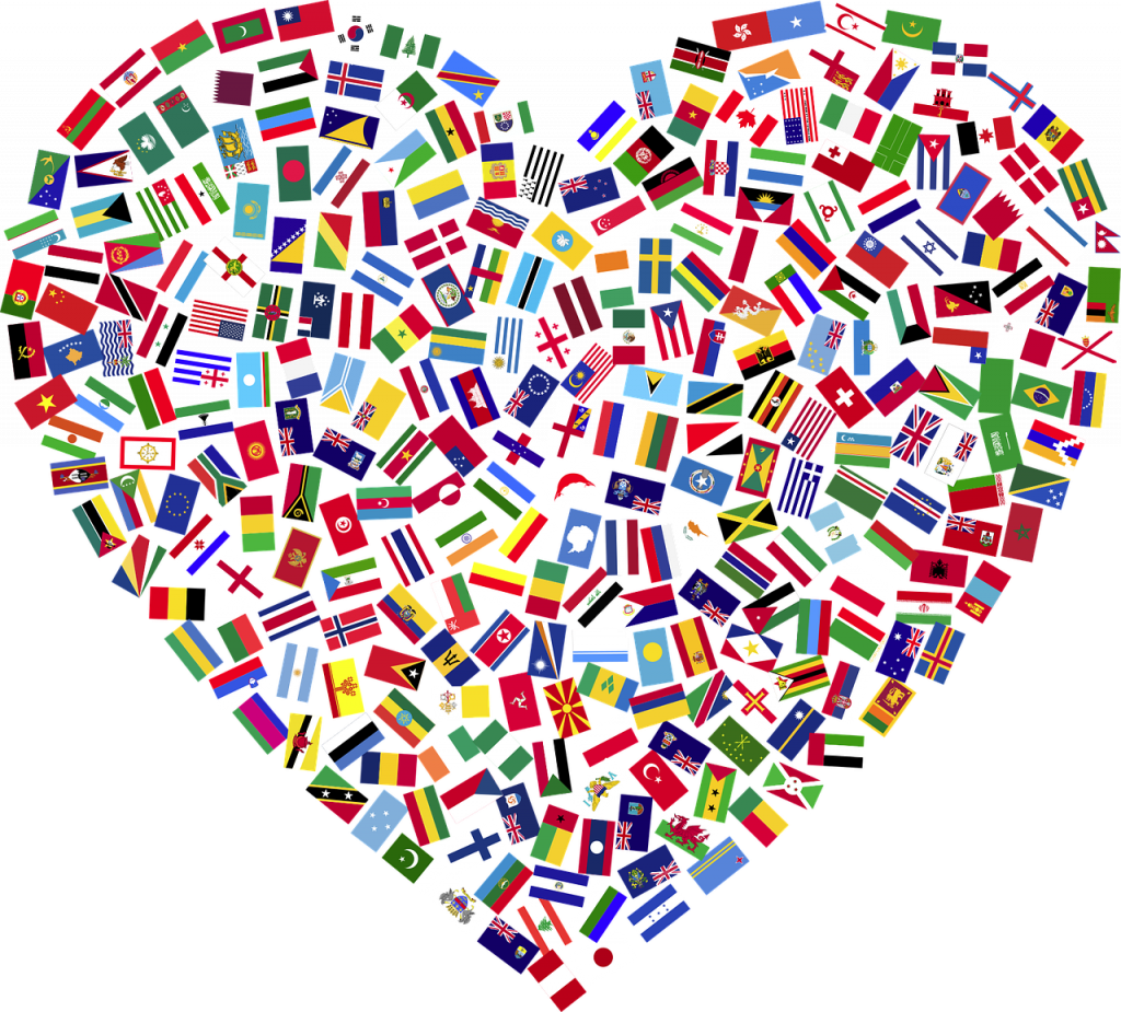 heart, flags, countries
